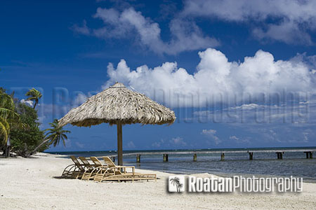 thatch palapa on tropical caribbean beach stock photo