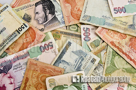 variety of honduran lempira currency stock photo