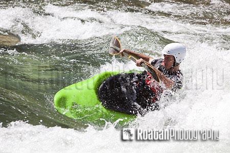 Kayaking river whitewater rapids stock photo