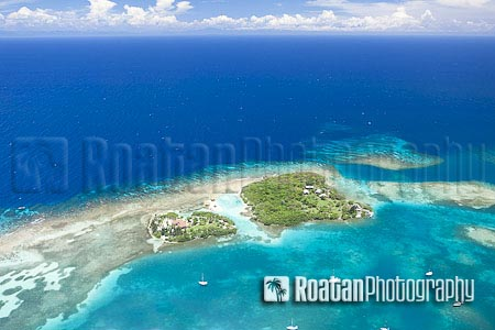 Tropical island aerial view stock photo