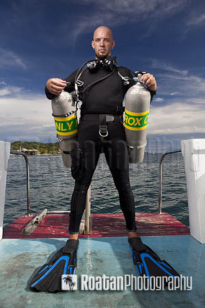 Double tank sidemount tec scuba diver stock photo