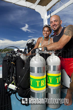 Two tec divers prepare for dive