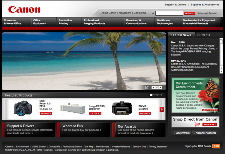 Image In Use Canon Homepage